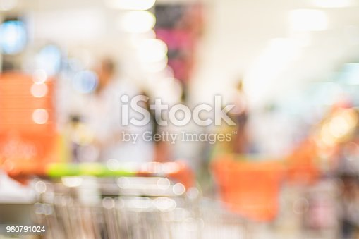 1072974214 istock photo Blur background of customer shopping with shopping cart at Supermarket store product shelf with bokeh light. 960791024