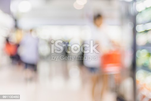 1072974214 istock photo Blur background of customer shopping with shopping cart at Supermarket store product shelf with bokeh light. 991100450