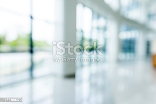 Blur background of empty lobby in hospital.