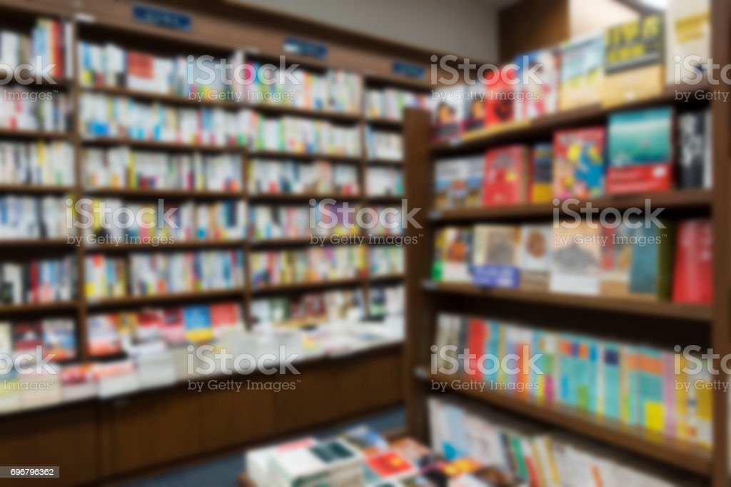 Blur background of library book store. stock photo