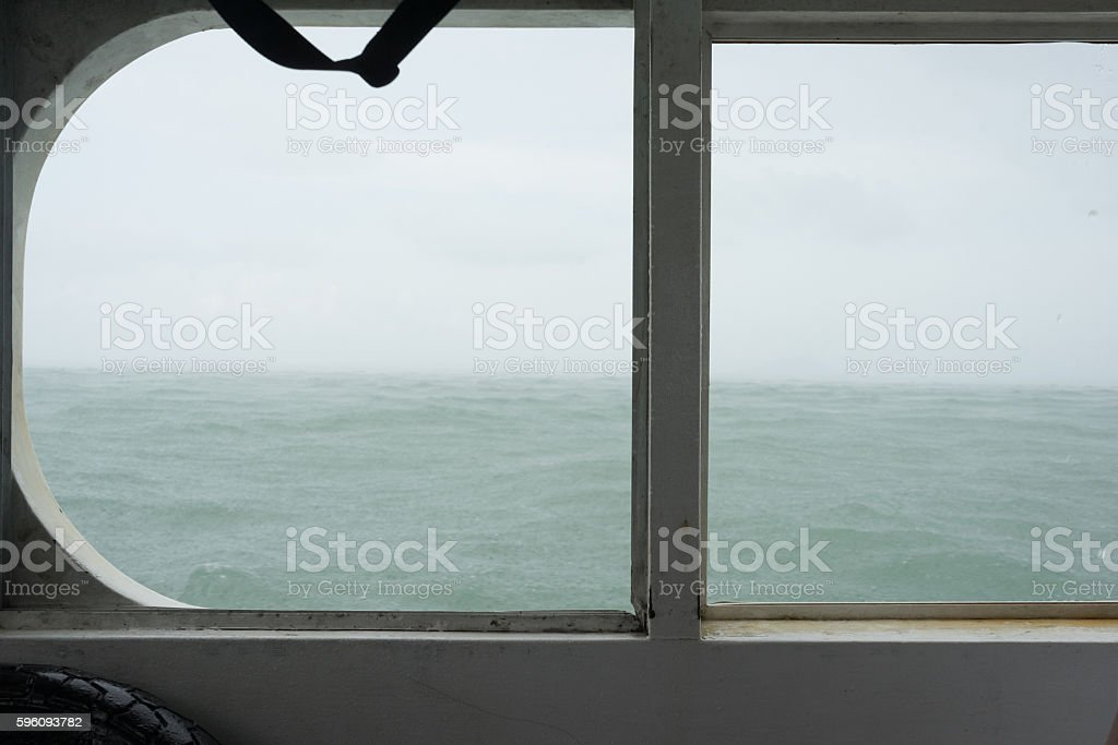 Blur background of raindrop in sea through boat window royalty-free stock photo