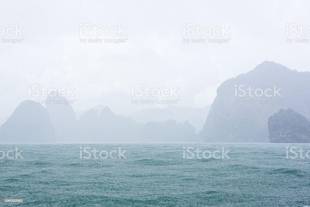 Blur background of raindrops, sea and mountains royalty-free stock photo