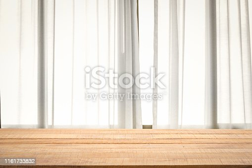 istock Blur background of white window glass and city view with empty of wood table. 1161733832