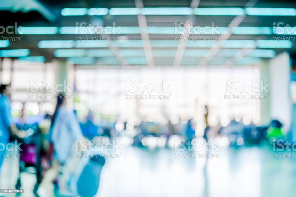 Blur background : Passenger waiting for flight at airport termin stock photo