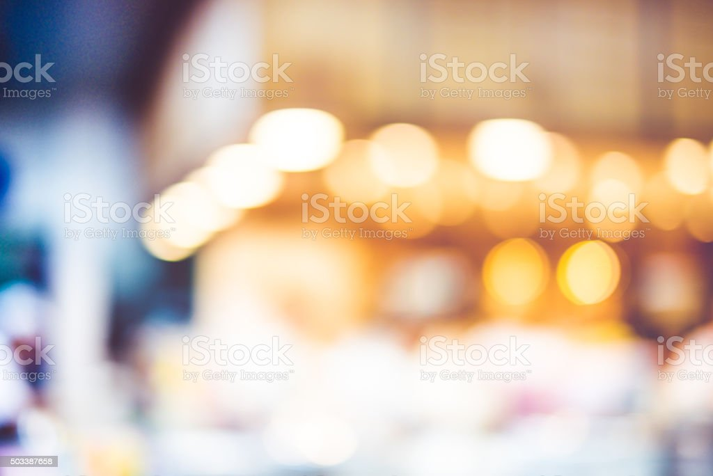 Blur background,Restaurant counter bokeh light stock photo
