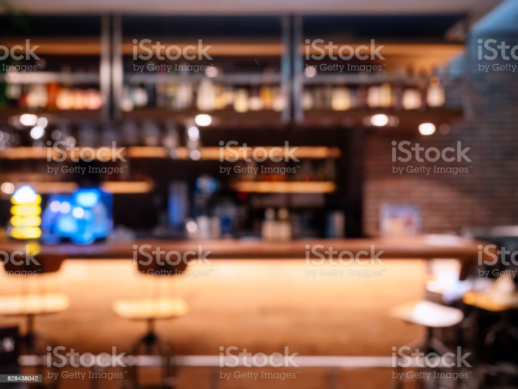 Blur Bar Pub counter and seats Restaurant background stock photo
