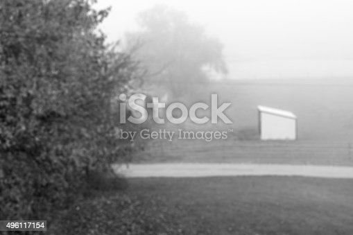 istock Blur black and white mini horse stable in foggy morning 496117154