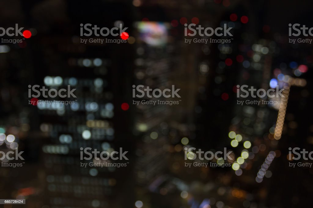 blur Bokeh of the city at night, view from Metropolitan Government Building observation royalty-free stock photo