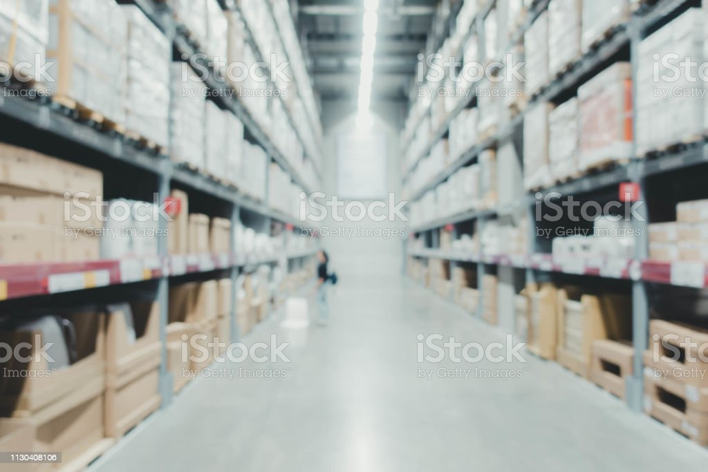 blur business warehouse store background.product in store shelf....