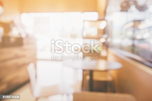 886308526 istock photo blur cafe coffee shop restaurant interior abstract background 848974008