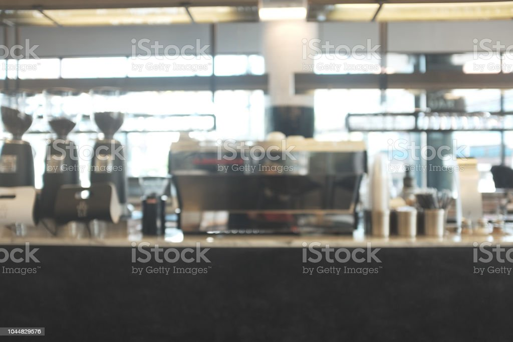 Blur Cafe Restaurant On Indoor Use For Background Modern Cafe With Counter Coffee Bar For Create Montage Product Display In Golden Time Stock Photo Download Image Now Istock
