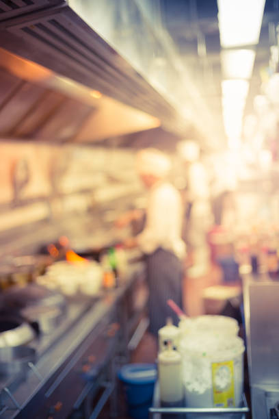 blur chef cooking stock photo