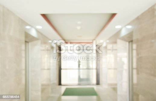 istock Blur classic space lift hall in background 683296454