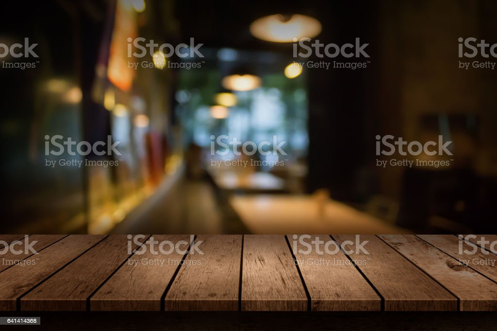 Blur coffee shop or cafe restaurant with abstract bokeh light background. For create montage product display stock photo