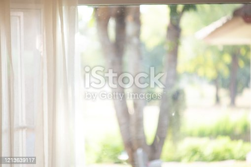 885452818 istock photo blur curtain with window green garden from background. 1213639117