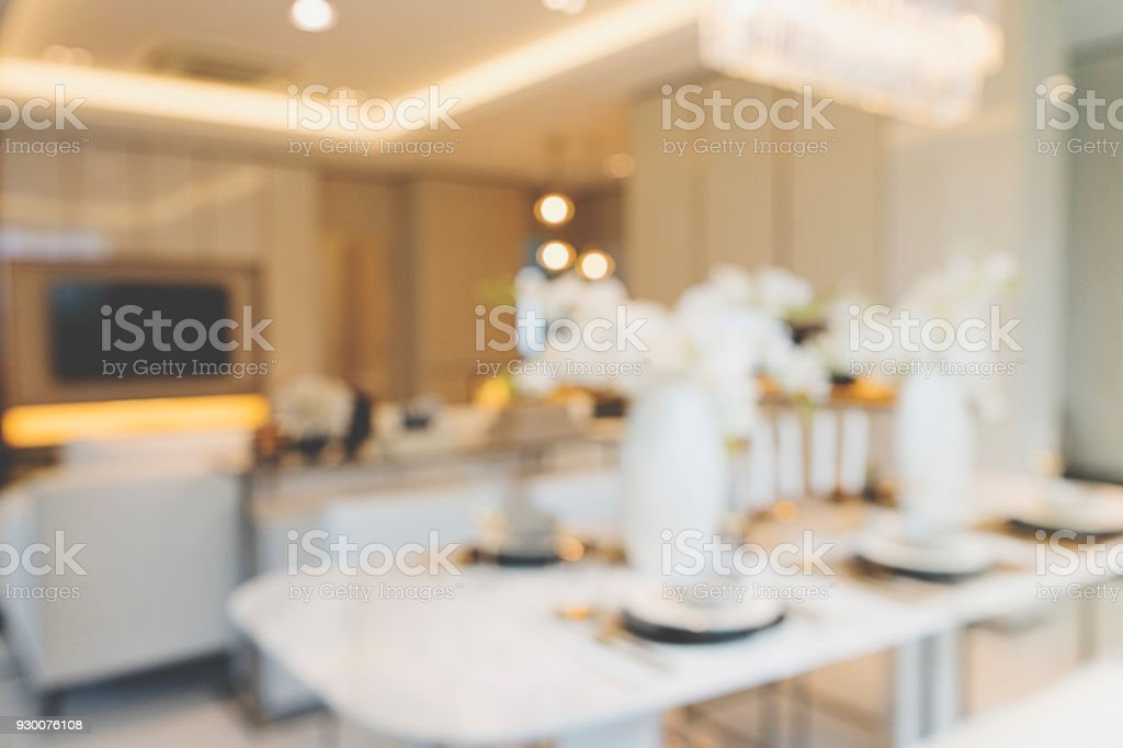 Blur Dining room for background stock photo