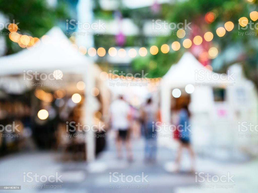 Blur festival events Market outdoor with people stock photo