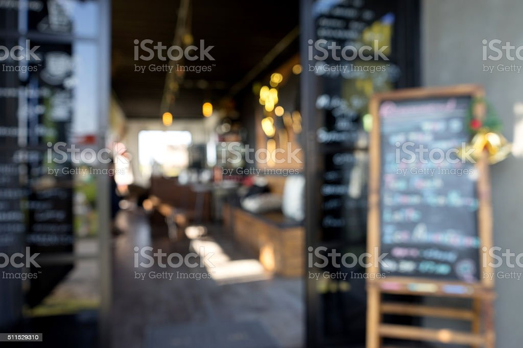 Blur front window coffee shop stock photo