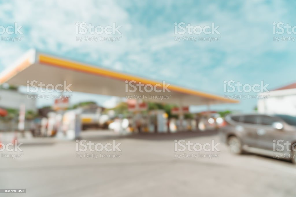 Blur Gas station with bkue sky background. stock photo