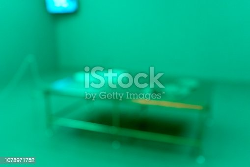 istock Blur green clinic bed in hospital room 1078971752
