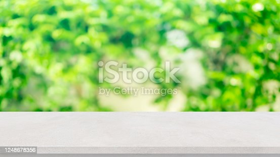 1048926386 istock photo blur green leaves of tree in the natural park with white cement picnic table for show , promote ,advertise content and product on display background concept 1248678356