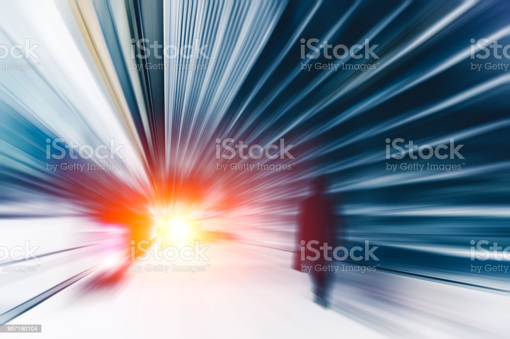 Blur High speed business man perform action to go fast forward concept stock photo