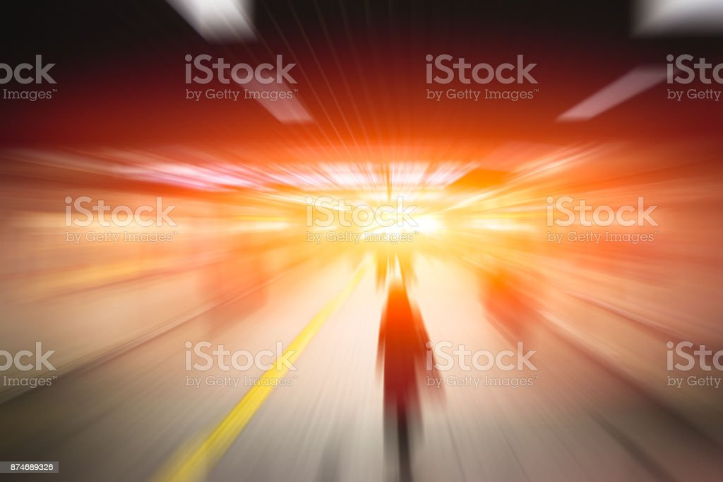Blur High Speed Business People and Development Technology in Urban Movement Concept background stock photo