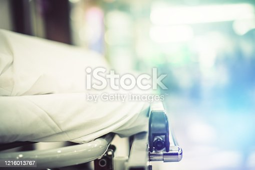 852092658 istock photo Blur hospital Background with old elder patient on bed and wheelchair waiting hallway ward. Poor healthcare treatment service for illness sick people with support from professional nurse and doctor 1216013767
