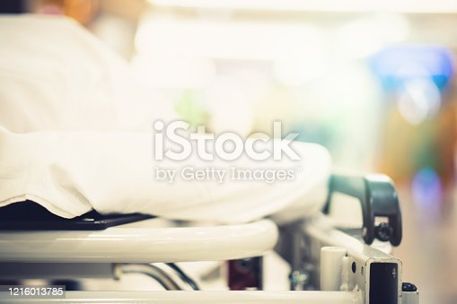 852092658 istock photo Blur hospital Background with old elder patient on bed and wheelchair waiting hallway ward. Poor healthcare treatment service for illness sick people with support from professional nurse and doctor 1216013785