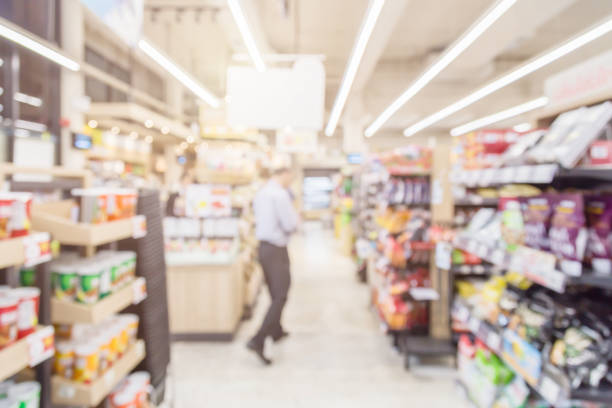 blur image background of convenient store stock photo