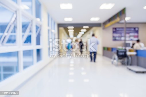 istock blur image background  of corridor in hospital or clinic image 932038072