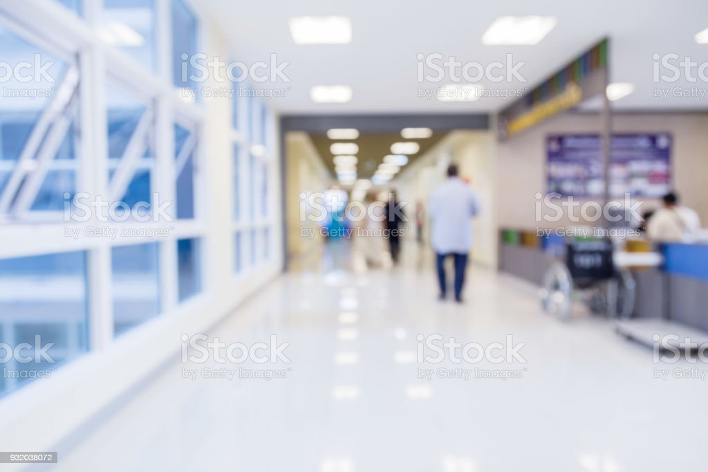 blur image background  of corridor in hospital or clinic image stock photo