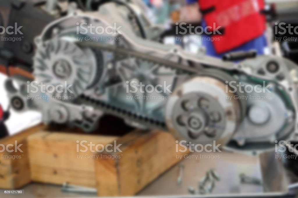 Blur image belt engine remove the engine assembly kit motorcycle. stock photo