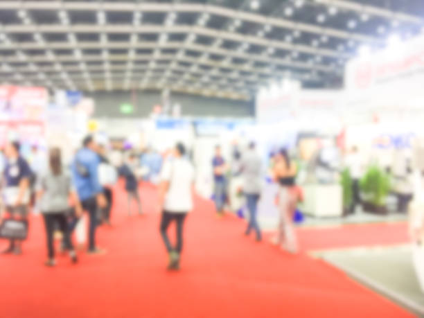 blur image of a exhibition . - home show stock photos and pictures