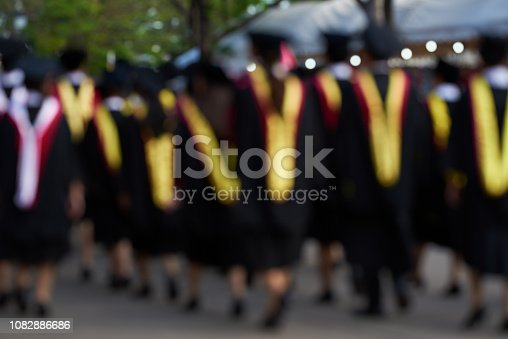 istock Blur image of a group of graudates walking 1082886686