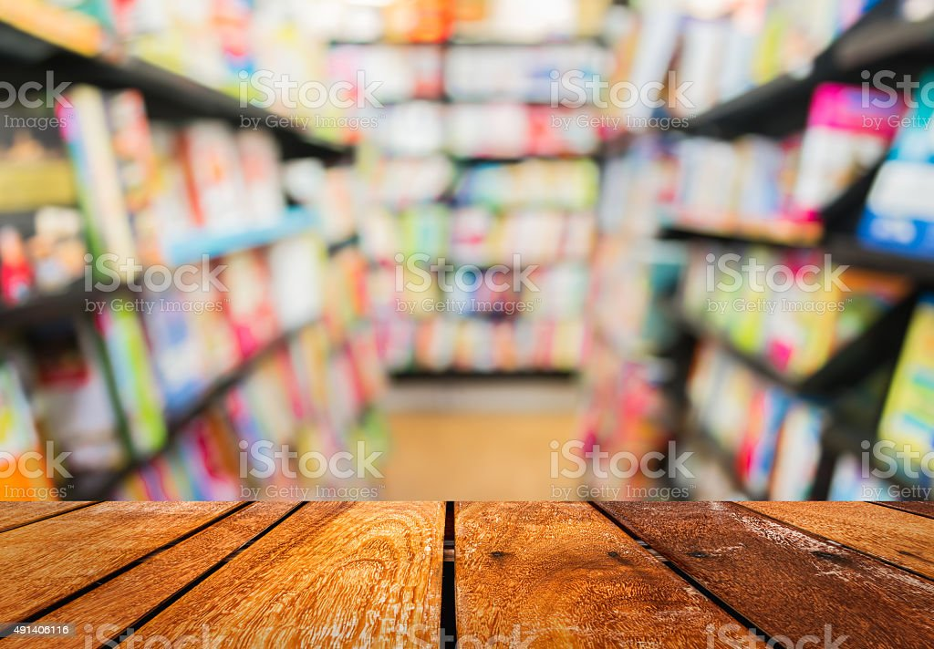 blur image of   book store on shelf stock photo
