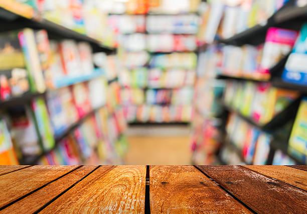 blur image of   book store on shelf stock photo