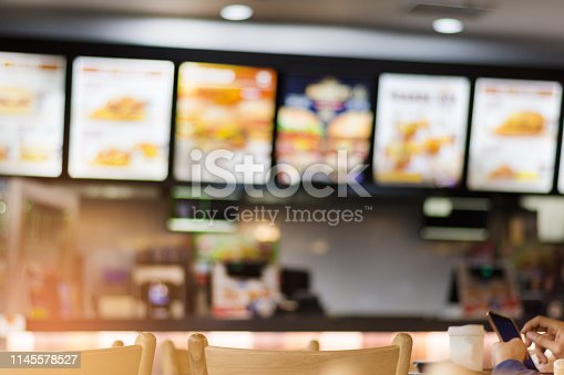Blur image of fast food restaurant, use for defocused background.