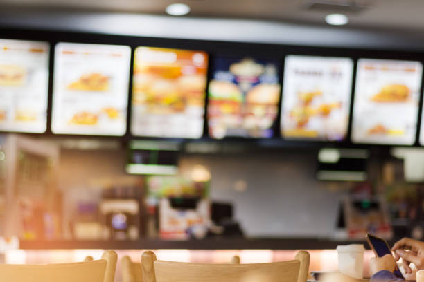 Blur image of fast food restaurant, use for defocused background. Blur image of fast food restaurant, use for defocused background. thailand mall stock pictures, royalty-free photos & images