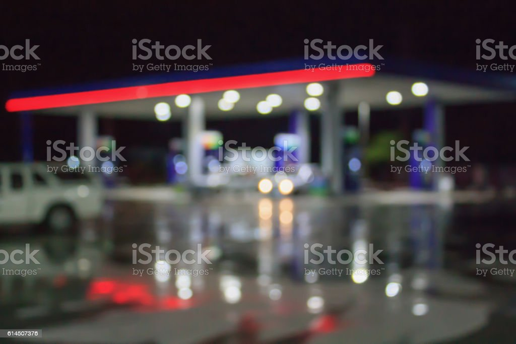blur image of gas station stock photo