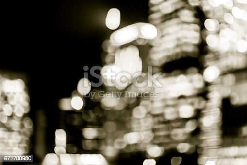 istock Blur image of Hong Kong city with circle bokeh in vintage style 672700980