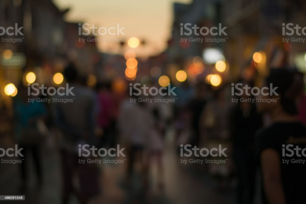 People in bokeh, Crowd of people in Talang Road during night life,...