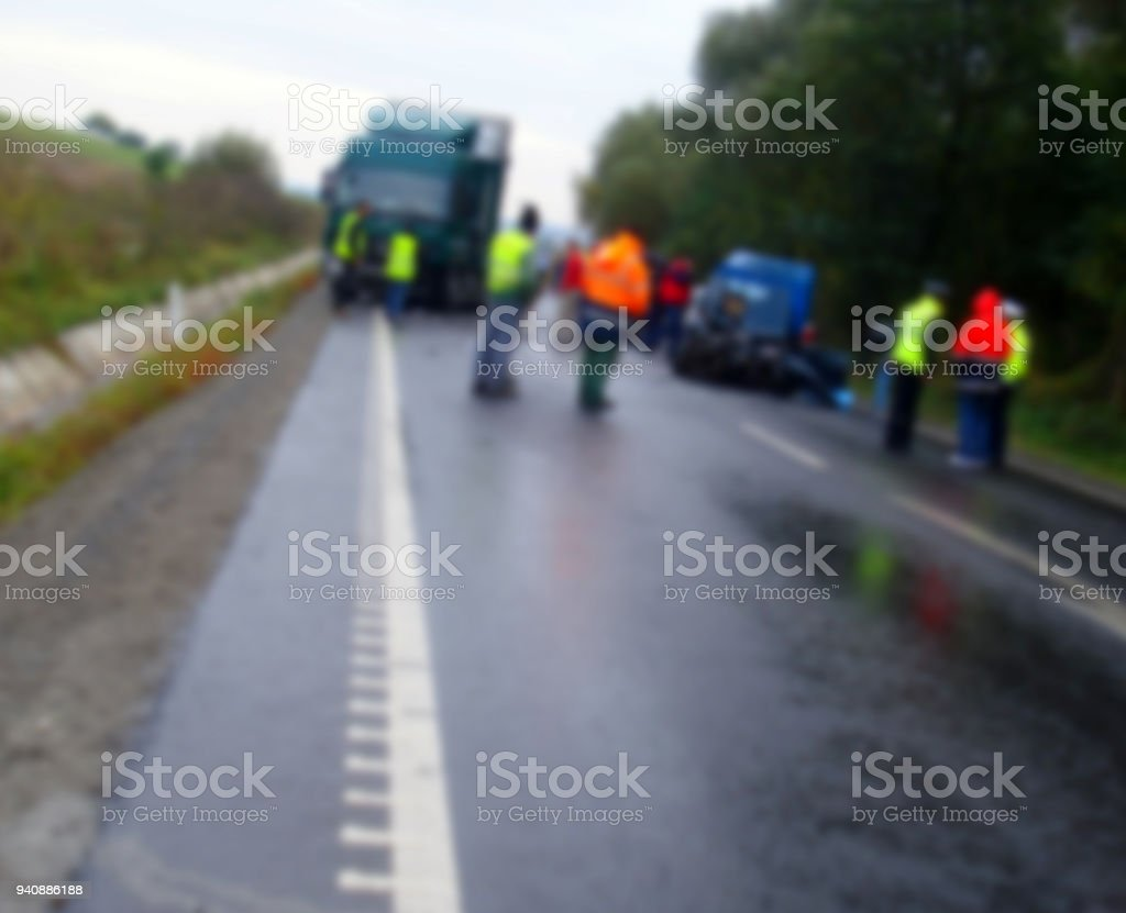 Blur Image With Scene Of An Accident Between A Truck And A Car Stock