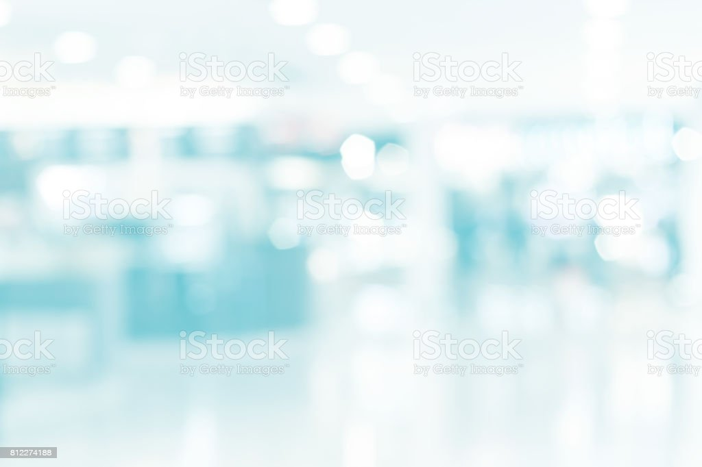 Blur inside building with bokeh light, Medical blurred background stock photo