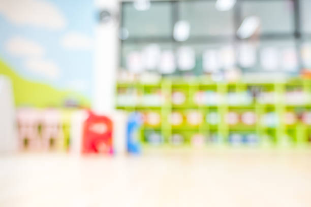 Blur library kindergarten school background with colorful color stock photo