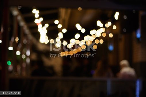 864907996 istock photo Blur light bokeh in dark night cafe 1176397260