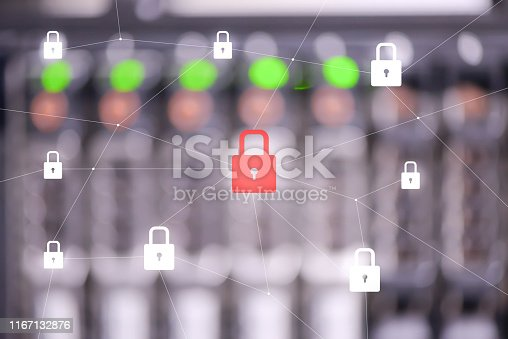 istock Blur lighting of server panel with red locked key icon for data protection and security concept 1167132876