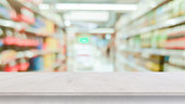 istock blur local supermarket convenience store background with perspective grey cement countertop  to showing product or ads banner and promote  marketing on display concept 1213528770