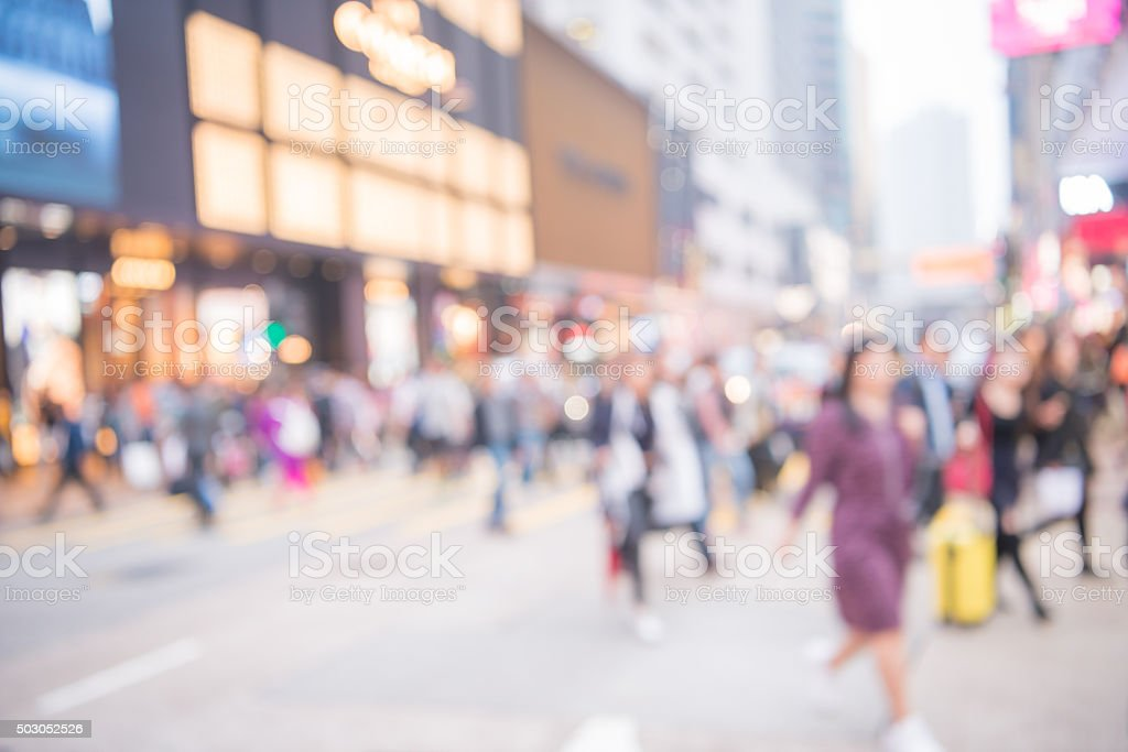 Blur movement of city people worker, shopping on Street in hongkong