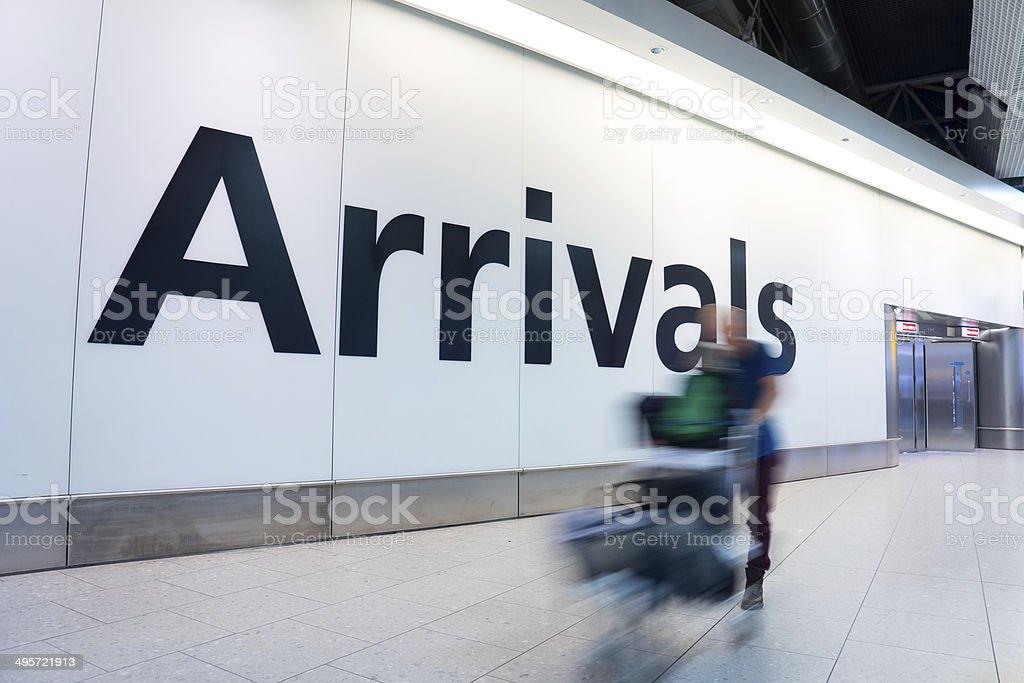 Blur Movement people arrivals Rush Hour Heathrow airport, London, UK stock photo